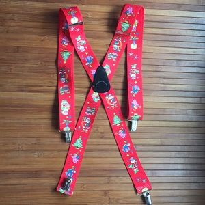 Other - Christmas Holiday Suspenders. Silver hardware. EUC